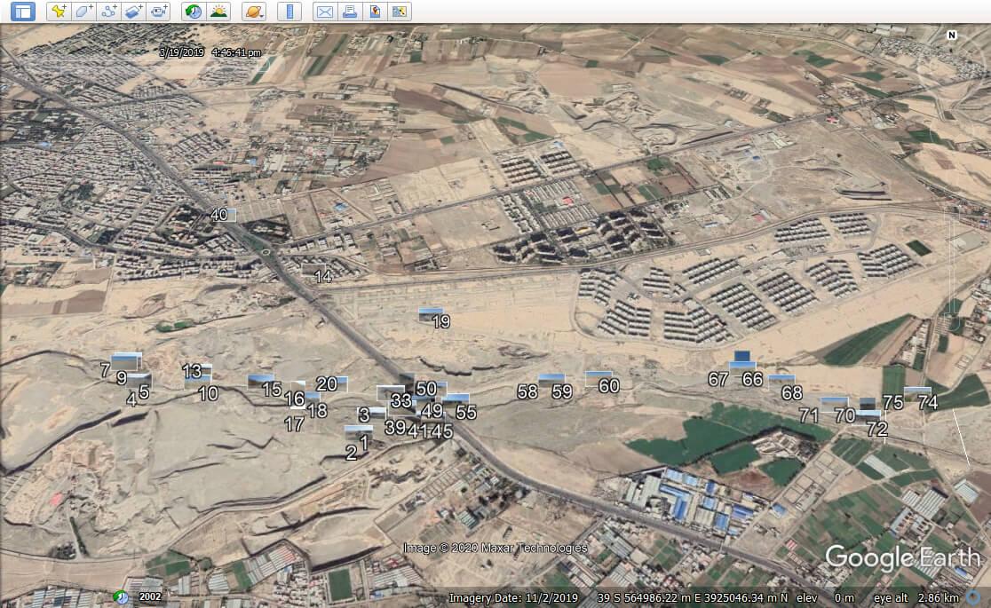 یک نمونه تصاویر پیاده شده دوربین برروی گوگل ارث