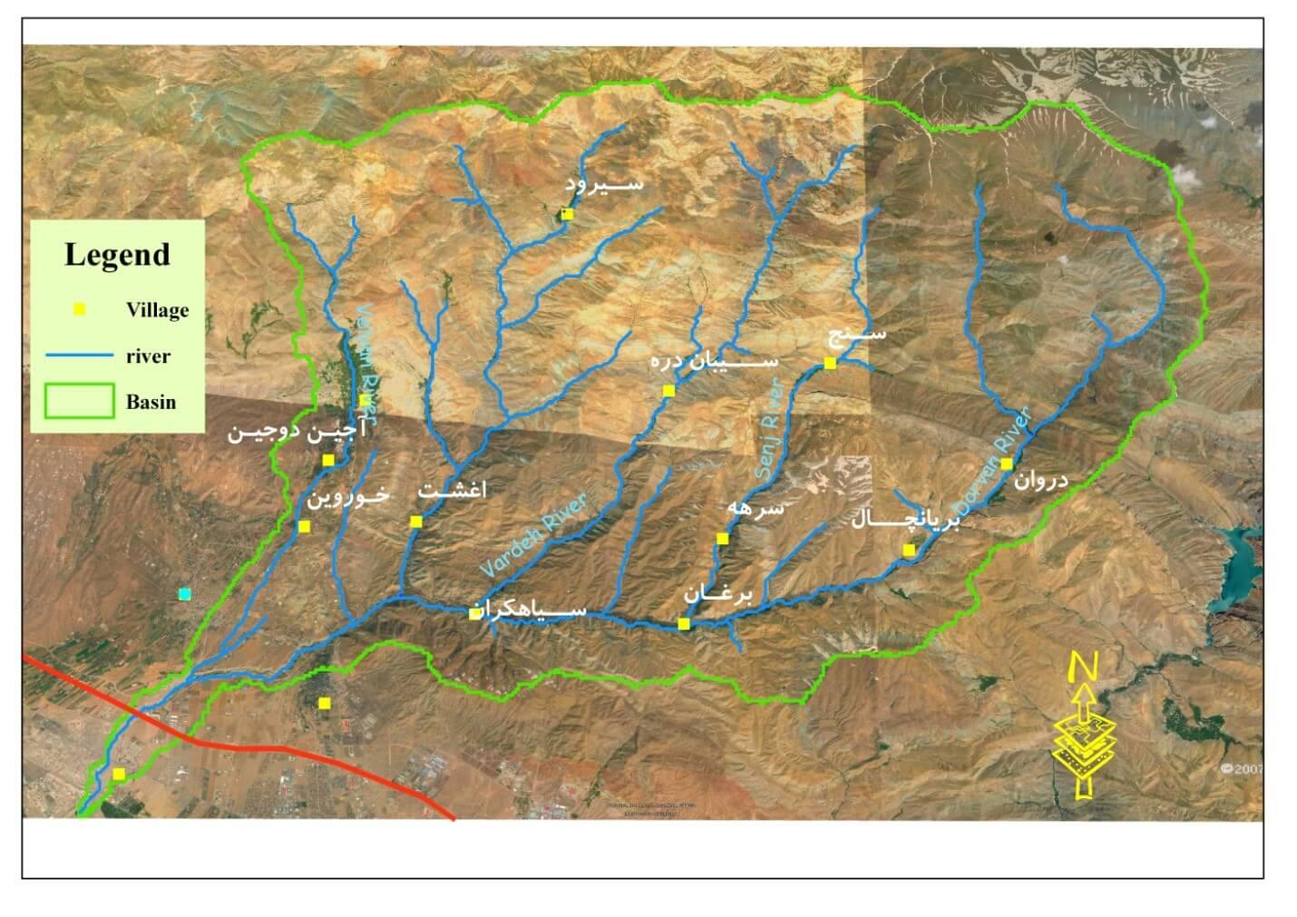 موقعیت عمومی حوضه آبریز رودخانه کردان