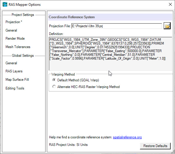 نمایش ناقص پنجره تنظیم سیستم مختصات