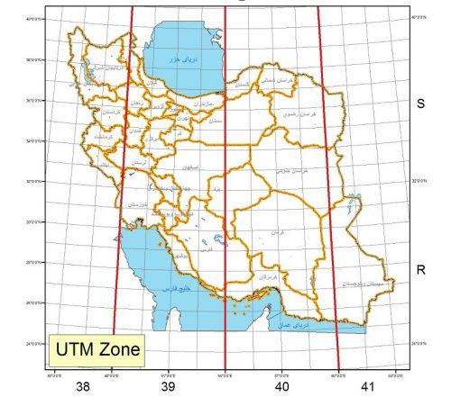 زون های UTM برای کشور ایران
